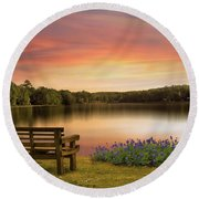 Springtime At The Lake Round Beach Towel
