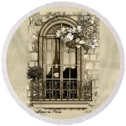 Springtime In Paris In Sepia Round Beach Towel