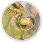 Sprouting Up - Abstract Art Round Beach Towel