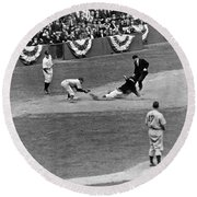 Spud Chandler Is Out At Third In The Second Game Of The 1941 Wor Round Beach Towel by Underwood Archives