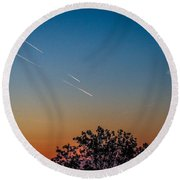 Squadron Of Jet Trails Over Ireland Round Beach Towel