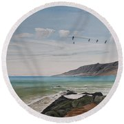 Squadron Of Pelicans Central Califonia Round Beach Towel