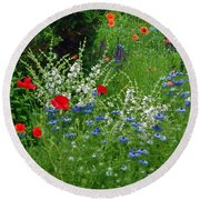 Squarely Spring Floral Garden Round Beach Towel