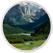 Squaretop Mountain 3 Round Beach Towel