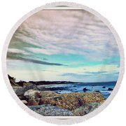 Squibby Cliffs And Mackerel Sky Round Beach Towel by Kathy Barney