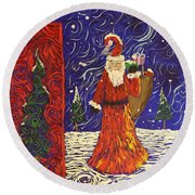 Squiggle Christmas Round Beach Towel