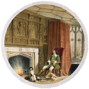 Squire With His Dogs By The Hearth Round Beach Towel