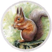 Squirrel Watercolor Art Round Beach Towel by Olga Shvartsur