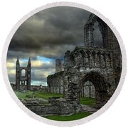St Andrews Cathedral And Gravestones Round Beach Towel