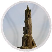 St Andrew's Cathedral Ruins Round Beach Towel by DejaVu Designs
