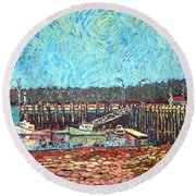 St Andrews Wharf Round Beach Towel