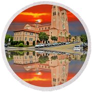 St Anne Church Of The Sunset In San Francisco With A Reflection  Round Beach Towel by Jim Fitzpatrick
