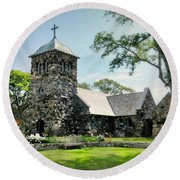 St. Ann's Episcopal Church Round Beach Towel by Diana Angstadt