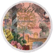 St. Augustine Florida Vintage Collage Round Beach Towel