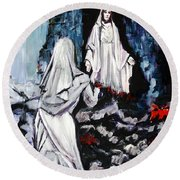 St. Bernadette At The Grotto Round Beach Towel