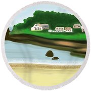A Peaceful Life  Round Beach Towel