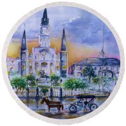 St. Charles New Orleans Sunset Round Beach Towel
