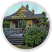 St Charles Station On The Katty Trail Look West Dsc00849 Round Beach Towel