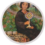 St. Clare Of Assisi Round Beach Towel