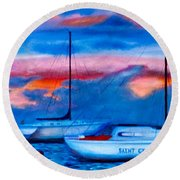 St Croix Sailboats At Sunset Painted In Oil Round Beach Towel