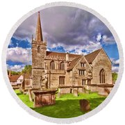 St Cyriac Church Lacock Round Beach Towel