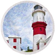 Round Beach Towel featuring the photograph St. David's Lighthouse by Verena Matthew