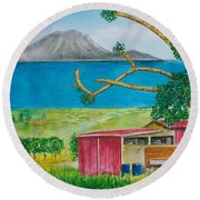 St. Eustatis From St. Kitts Round Beach Towel by Frank Hunter