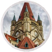 St. Francis Of Assisi Church In Vienna Round Beach Towel