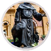 St Francis Of Assisi - Santa Fe Round Beach Towel by Dany Lison