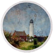 St. George Island Historic Lighthouse Round Beach Towel