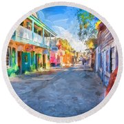 St George Street St Augustine Florida Painted Round Beach Towel