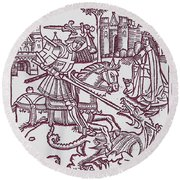 St. George - Woodcut Round Beach Towel