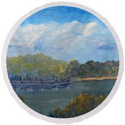 St Georges River Near Como Marina  Round Beach Towel