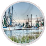 St. Helena Island Shrimp Boats Round Beach Towel