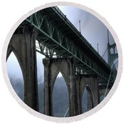 St Johns Bridge Oregon Round Beach Towel by Bob Christopher
