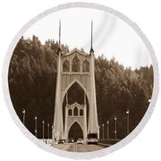 Round Beach Towel featuring the photograph St. John's Bridge by Patricia Babbitt