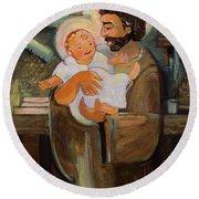 St. Joseph And Baby Jesus Round Beach Towel