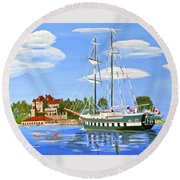 Round Beach Towel featuring the painting St Lawrence Waterway 1000 Islands by Phyllis Kaltenbach