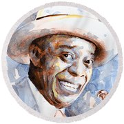 Round Beach Towel featuring the painting St. Louis Blues 2 by Laur Iduc