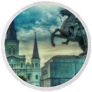 St. Louis Cathedral And Andrew Jackson- Artistic Round Beach Towel