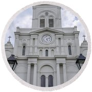 St. Louis Cathedral Close-up Round Beach Towel