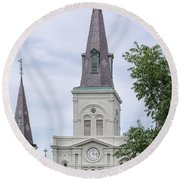 St. Louis Cathedral Through Trees Round Beach Towel