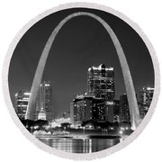 St. Louis Skyline At Night Gateway Arch Black And White Bw Panorama Missouri Round Beach Towel