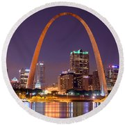 St. Louis Skyline At Night Gateway Arch Color Panorama Missouri Round Beach Towel