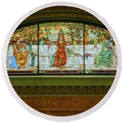 St Louis Union Station Allegorical Window Round Beach Towel by Greg Kluempers