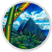 St. Lucia Pitons Round Beach Towel