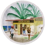 St. Lucia Store Round Beach Towel by Frank Hunter