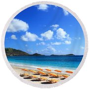 St. Maarten Calm Sea Round Beach Towel