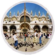 Round Beach Towel featuring the photograph St. Mark's Basilica  by Allen Beatty