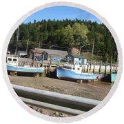 St-martin's Fishing Fleet Round Beach Towel by Francine Heykoop